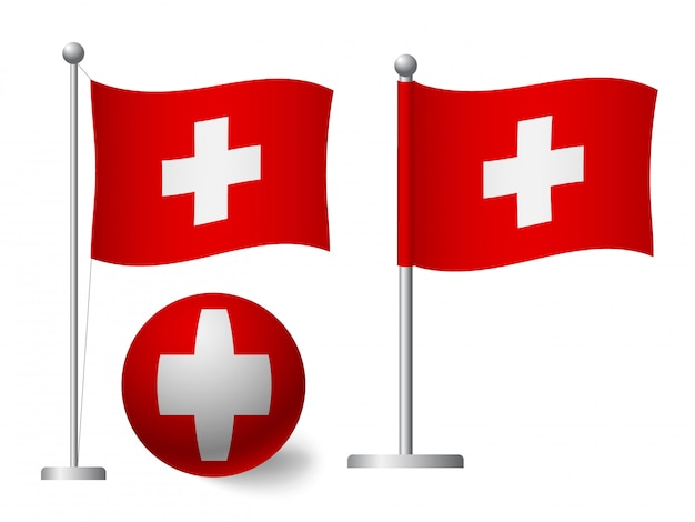 Vlag van zwitserland op paal en bal pictogram