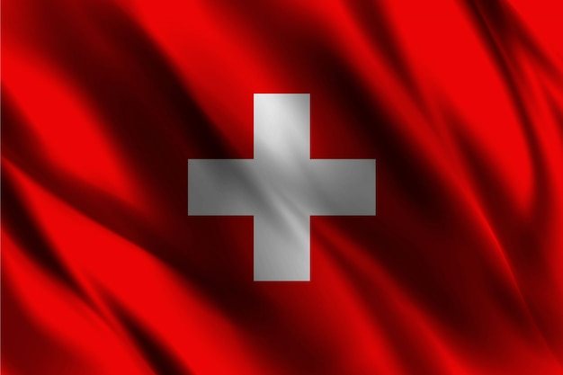 Vlag van zwitserland zwevende zijde achtergrond