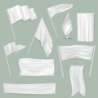Vlag vector witte plavuizen leeg op vlaggenmast en markeren symbool illustratie set van promotie vlaggen