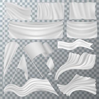 Vlag vector witte plavuizen leeg op vlaggenmast en markerende symboolillustratie