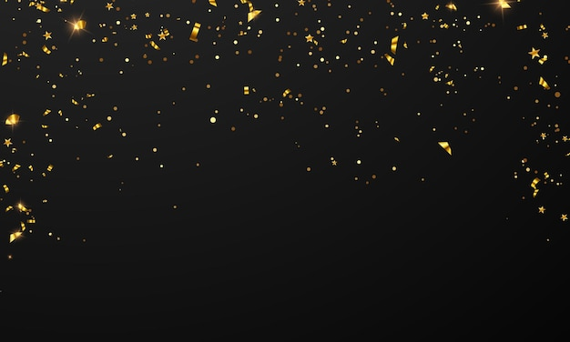 Vlag viering confetti en linten gouden frame partij banner, evenement verjaardag achtergrond sjabloon met.