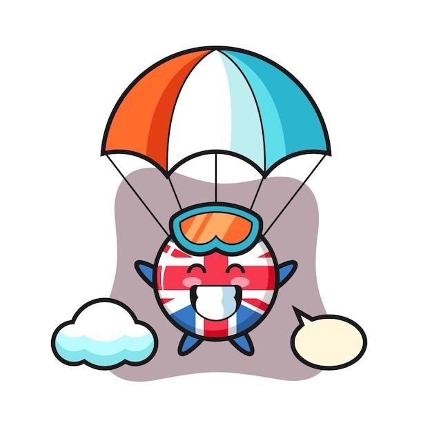 Vlagbadge van het verenigd koninkrijk, schattig stijlontwerp voor t-shirt, sticker, logo-element Premium Vector