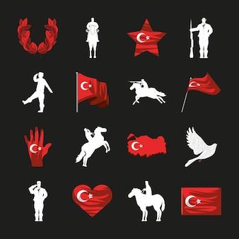 Vlaggen en soldaat van turkije