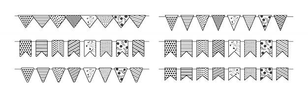 Vlaggen slinger verjaardagsfeestje platte set. verjaardag, feest partij opknoping patroon vlag cartoon zwart-wit collectie. wimpelviering, festivallijndecoratie. illustratie