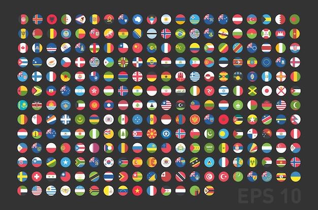 Vlaggen van alle landen rond knoppen voor het web in flat. vectoreps 10