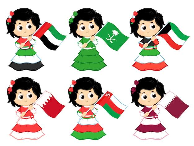 Vlaggen van de gulf cooperation council (verenigde arabische emiraten, saoedi-arabië, koeweit, bahrein, oman en qatar)