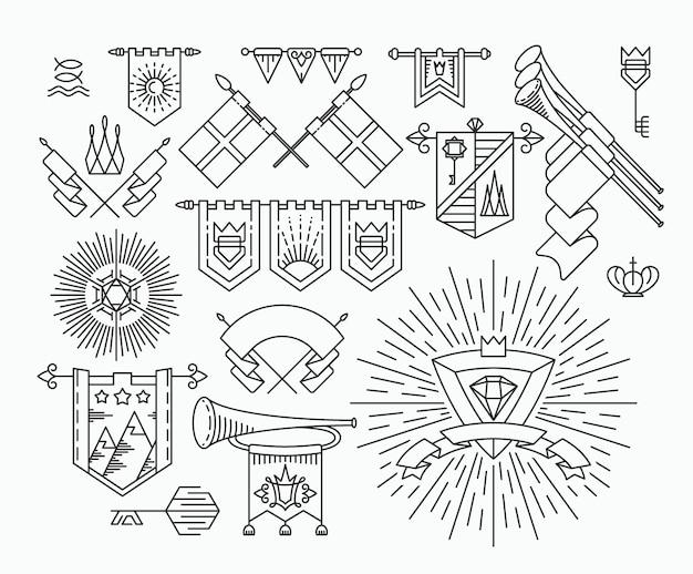Vlaggen van europa, set van plat pictogrammen, deel 2.