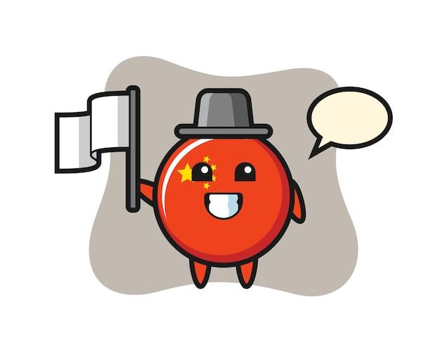 Vlaggenbadge van china, schattig stijlontwerp voor t-shirt, sticker, logo-element