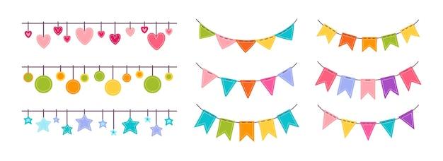 Vlaggenslinger platte set. verjaardag, feestviering hangende vlaggen cartoon collectie