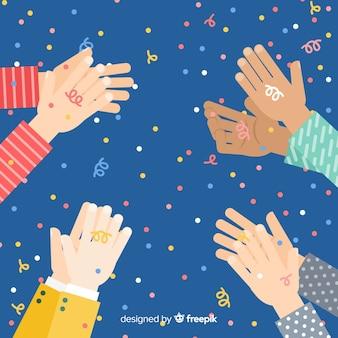 Vlak applaus met confettienachtergrond