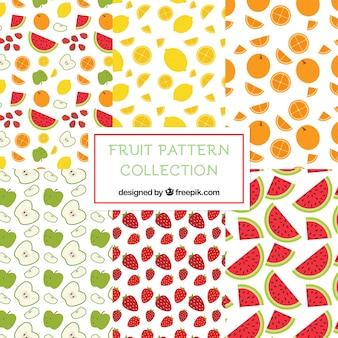 Vlak assortiment van zes decoratieve fruitpatronen