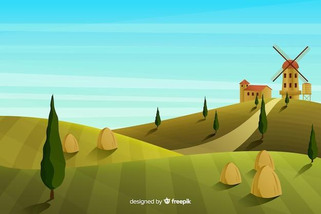 Vlak boerenlandschap