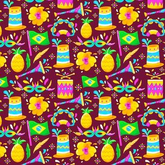 Vlak braziliaans carnaval kleurrijk patroon