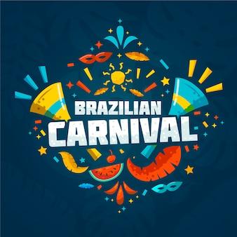 Vlak braziliaans carnaval met plakjes watermeloen en confetti