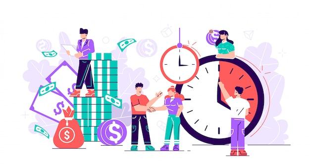 Vlak. concept bespaart tijd, geld besparen. tijden zijn geld. zaken en management, spaarpot, tijd is geld, financiële investeringen in toekomstige inkomstengroei op de aandelenmarkt, planning van tijdbeheer, deadline