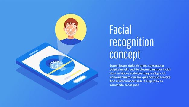 Vlak concept gezichtsidentificatie van de jonge mens.