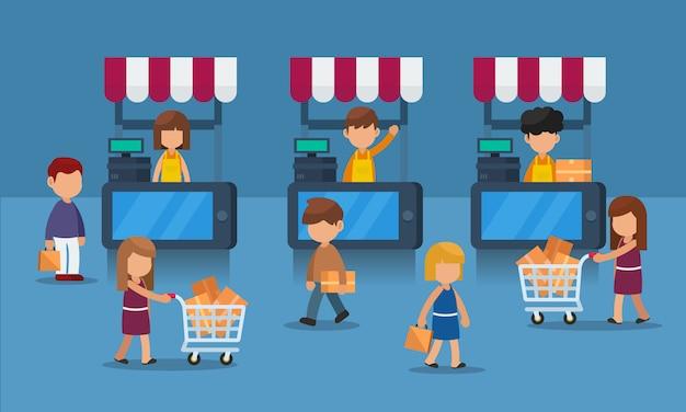 Vlak concept mobiele e-handel met klant, digitaal marktconcept