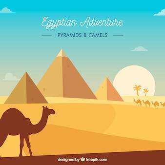 Vlak de piramideslandschap van egypte met caravan van kamelen