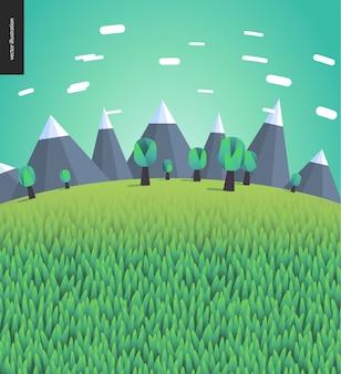 Vlak geïllustreerd landschap met bergen en bomen