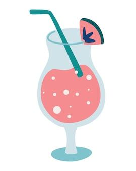 Vlak glas met een zomerse exotische cocktail. fruit cocktail. zomervakantie en strandfeest. vector illustratie
