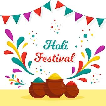 Vlak holi-festival met verf en slinger