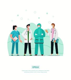 Vlak illustratiekarakter met de medische outfit kan worden gebruikt voor print, infographic, presentatie