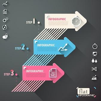 Vlak infographic ontwerp met lijnen, pijlen en pictogrammen