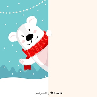 Vlak kerstmiskarakter die witte lege kaart houden