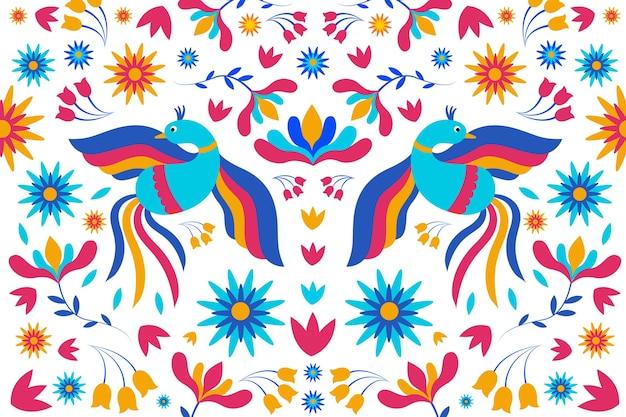 Vlak kleurrijk mexicaans behang