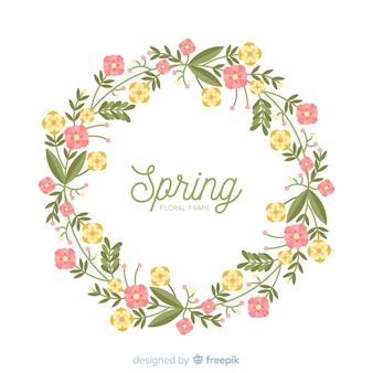 Vlak lente bloemenkader