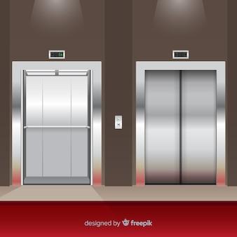 Vlak liftconcept met open en gesloten deur
