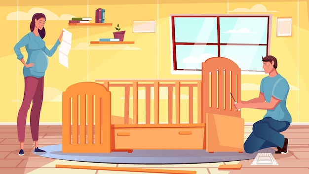 Vlak meubilair met zwangere vrouw en man die babywieg in elkaar zetten