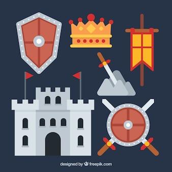 Vlak middeleeuws kasteel en elementen