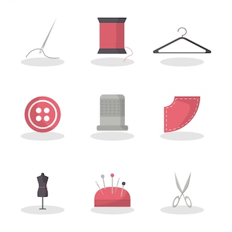 Vlak naaien voor mode-lifestyle-ontwerp. meetapparaat. mode stijl. set van naald, thead, hanger, knop, vingerhoed, mannequin, naald kussen, schaar