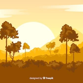Vlak natutral landschap met bomen