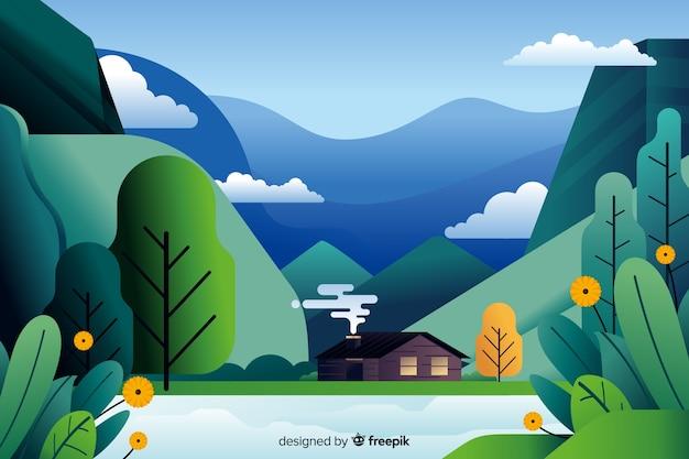 Vlak natuurlijk landschap met vegetatie