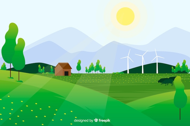 Vlak natuurlijk landschap met zon en boerderij in het bos