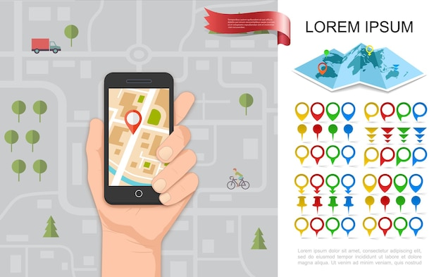 Vlak navigatieconcept met mannelijke hand met telefoon met gps-navigator stadsplattegrond kleurrijke pinnen en aanwijzers