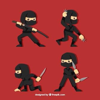 Vlak ninja-karakter in verschillende poses