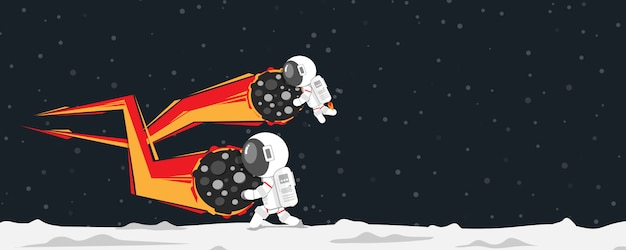 Vlak ontwerp, astronauten die meteoriet breken die op planeet vallen, vectorillustratie, infographic-element