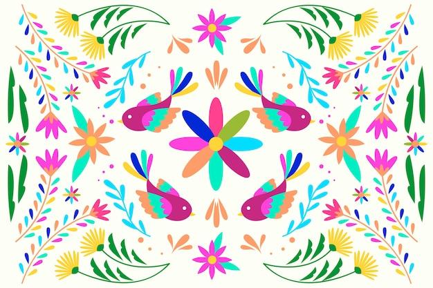 Vlak ontwerp kleurrijk mexicaans behang