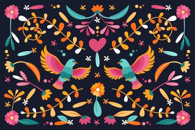 Vlak ontwerp kleurrijk mexicaans behangconcept