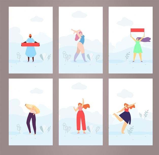 Vlak ontworpen vrouw stijl kaarten covers pages set
