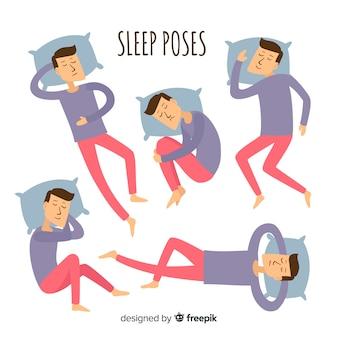 Vlak persoon in verschillende slaapposities
