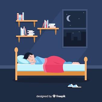 Vlak persoon slapen in bed