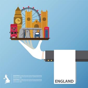 Vlak pictogrammenontwerp van de oriëntatiepunten van het verenigd koninkrijk.