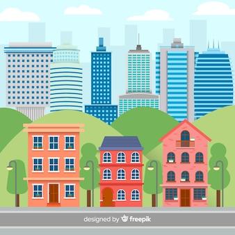 Vlak stedelijk landschap met kantoorgebouwen