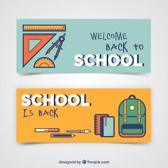 Vlak terug naar school banners