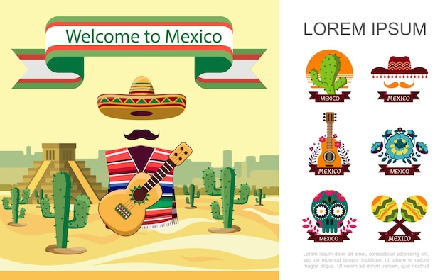 Vlak welkom bij het kleurrijke concept van mexico met mexicaanse traditionele elementen op de illustratie van het woestijnlandschap,