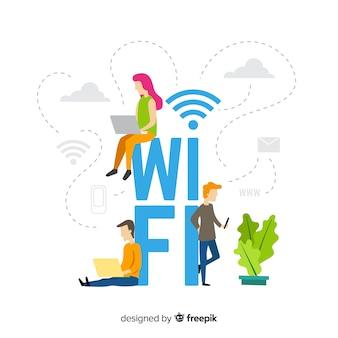 Vlak wifi-gebiedsconcept met signaal